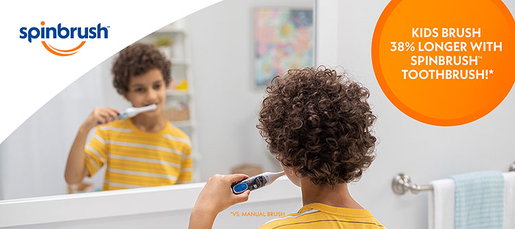 New & improved Spinbrush toothbrush spins faster! More oscillations per minute vs. former Kid's Spinbrush toothbrush